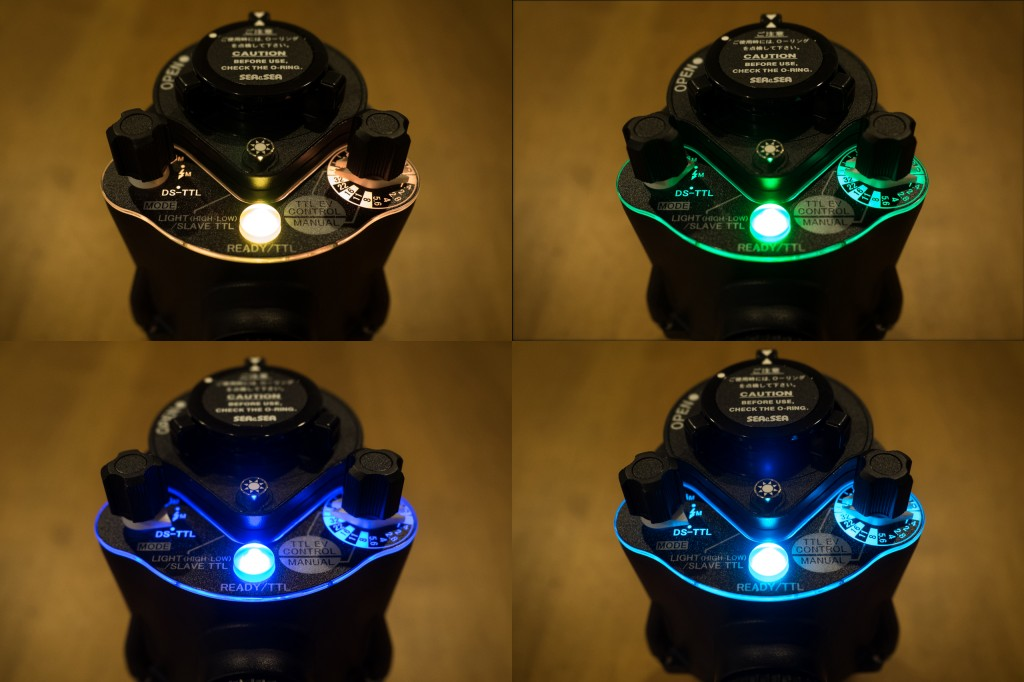 The YS-D2 panel is backlit with the color corresponding to the selected mode (clockwise): orange - Pre-Flash; green - without Pre-Flash; aqua - DS-TTL; blue - Slave-TTL