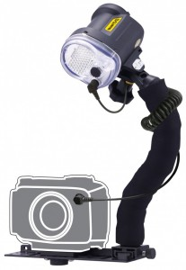 YS-03 - Mounted on a Sea & Sea Universal Lighting System Light Set