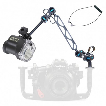 "Sea & Sea YS-01 Solis Strobe -  Mounted on a Nauticam Ball and Joint Arm with 4""+5"" Segments Light Set"