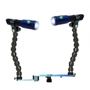 DUAL Fantasea Action 700 Lumen Video Light -  Mounted on a Blueray Flex Arm Tray Light Set