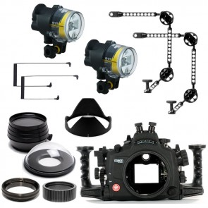 Aquatica Underwater DSLR Package for Nikon D800, D800E with Nikon 105 & Sigma 15 Lens Ports & Lighting