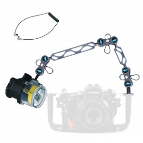 """Sea & Sea YS-D1 Strobe -  Mounted on a Nauticam Ball and Joint Arm with 8""""+5"""" Segments Light Set"""