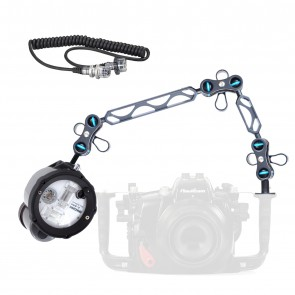 "INON Z-240 Strobe -  Mounted on a Nauticam Ball and Joint Arm with 8""+5"" Segments Light Set"