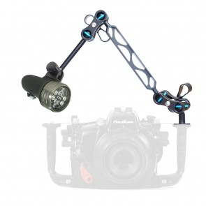 """Light & Motion SOLA VIDEO 2100 -  Mounted on a Nauticam Ball and Joint Arm with 4""""+5"""" Segments Light Set"""