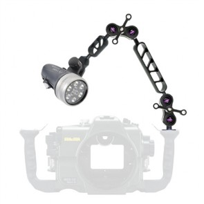 "Light & Motion SOLA VIDEO 1200 -  Mounted on a i-Das 7"" + 5"" B&J Arm Light Set"