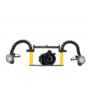 Nauticam housing for Sony NEX-5N camera w/18-55mm Lens and Dual YS-01 Strobes on BTS Tray