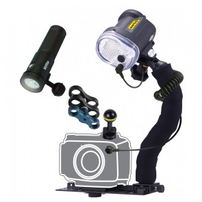Sea & Sea YS-03 - Bigblue AL1800XWP Mounted on a Universal Lighting System & Cold Shoe Mount Light Set