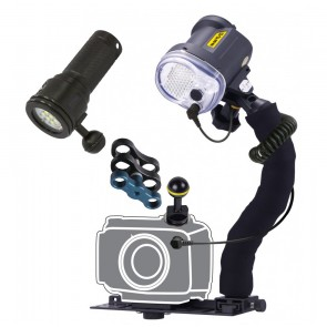 Sea & Sea YS-03 - Bigblue VTL2800P Mounted on a Universal Lighting System & Cold Shoe Mount Light Set