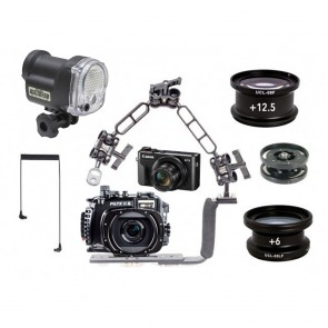 Fantasea FG7XII A Underwater Housing AND Canon G7XII Camera w/Sea & Sea YS-01 Solis & Macro Lenses