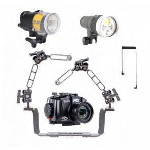 Fantasea FRX100VI Underwater Housing for Sony RX100 VII / VI w/Sea & Sea YS-D2J Kraken Hydra 3500S+ RGB