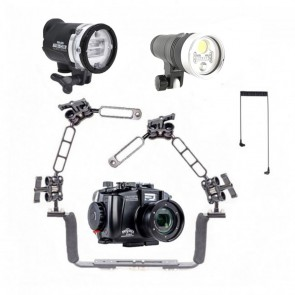 Fantasea  Underwater Housing for Sony RX100 VII / VI w/Sea & Sea YS-D3 Kraken Hydra Hydra 3500S+ RGB
