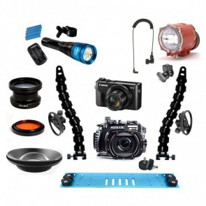 Fantasea FG7XII A Underwater Housing AND Canon G7X II Camera w/Inon S-2000 Fantasea Radiant 2500 & Lenses