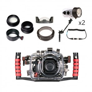 Ikelite Underwater DSLR Package for Nikon D7100 with Nikon 105 & Tokina 10-17 Lens Ports & Lighting