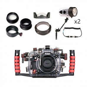 Ikelite Underwater DSLR Package for Nikon D800, D800E with Nikon 105 & Sigma 15 Lens Ports & Lighting