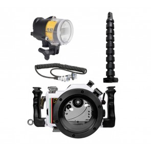 Nimar Underwater DSLR Package for Canon EOS 1300D / Rebel T6 with Canon 18-55mm &  Lens Ports & Lighting