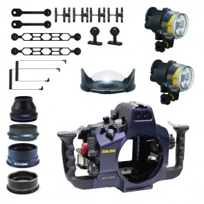 Sea and Sea Underwater DSLR Package for Nikon D800, D800E with Nikon 105 & Sigma 15 Lens Ports & Lighting