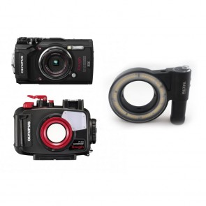 Mozaik PT-058 Underwater Housing AND Olympus TG-5 Camera w/Kraken Ring Light 3000