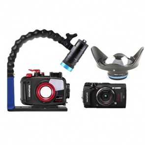 Mozaik PT-058 Underwater Housing AND Olympus TG-5 Camera w/Kraken Hydra 3500 Video Light
