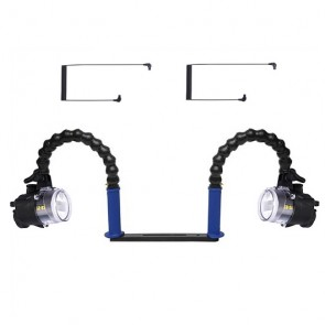 Dual Sea & Sea YS-D2 Strobe -  Mounted on a Uni-Tray Flex Arm Set Light Set