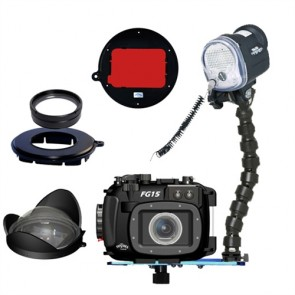 Mozaik FG15 Underwater Housing AND Canon G15 Camera w/YS-01 Strobe Wide and Macro Lens