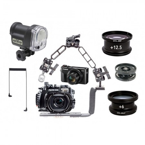 Fantasea FG7XII A Underwater Housing AND Canon G7XII Camera w/Sea & Sea YS-01 Solis & Macro Lenses