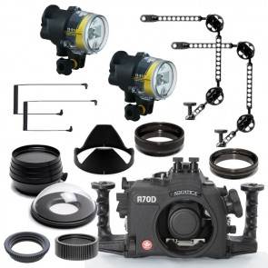 Aquatica Underwater DSLR Package for Canon 70D with Canon 100 & Tokina 10-17 Lens Ports & Lighting