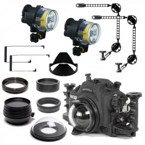 Aquatica Underwater DSLR Package for Nikon D7100 with Nikon 105 & Tokina 10-17 Lens Ports & Lighting