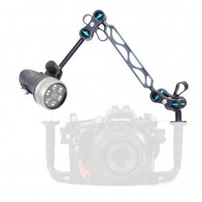 "Light & Motion SOLA VIDEO 1200 -  Mounted on a Nauticam Ball and Joint Arm with 4""+5"" Segments Light Set"