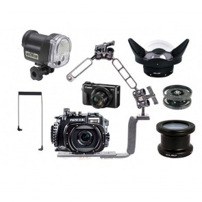 Fantasea FG7XII A Underwater Housing AND Canon G7XII Camera w/Sea & Sea YS-01 Solis & Lenses