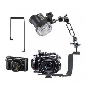 Fantasea FG7XII A Underwater Housing AND Canon G7XII Camera w/Sea & Sea YS-01 Solis