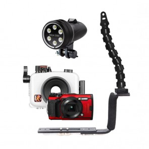 Mozaik 6233.06 Underwater Housing AND Olympus TG-6 Camera w/Sola 2500 Flood